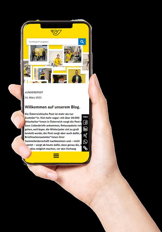 Hand mit Smartphone Blog Post