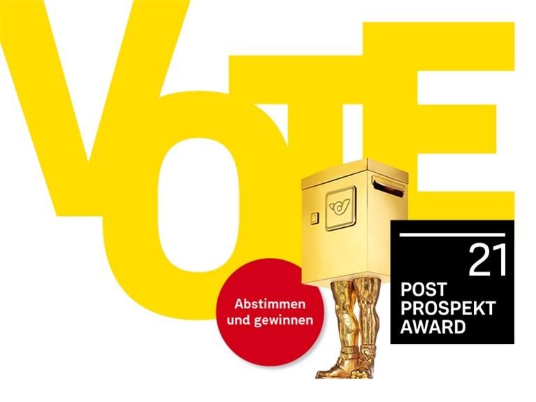 gelber Schriftzug VOTE. Post Prospekt Award